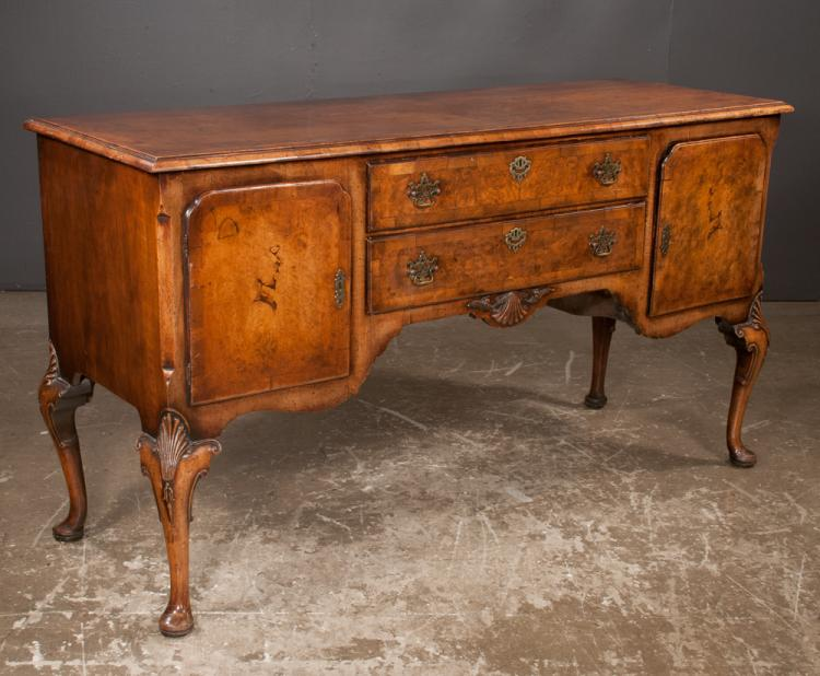 Queen Anne style walnut hunt board with cross banded top, two drawers in center and cupboards on each end on cabriole legs with shell carved knees and pad feet, c.1880, 65.5
