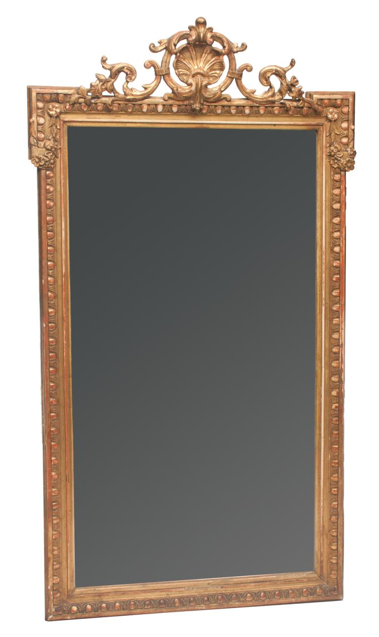 Gold gilt Venetian mirror with scroll and shell pediment and egg and dart design down sides and on base, 60
