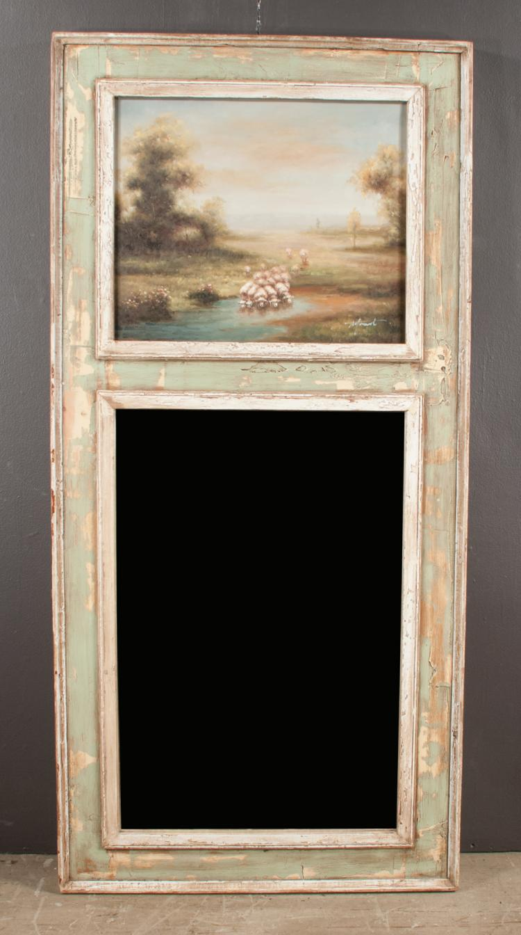 Louis XVI style painted Trumeau mirror with landscape painting with sheep at the top, 69