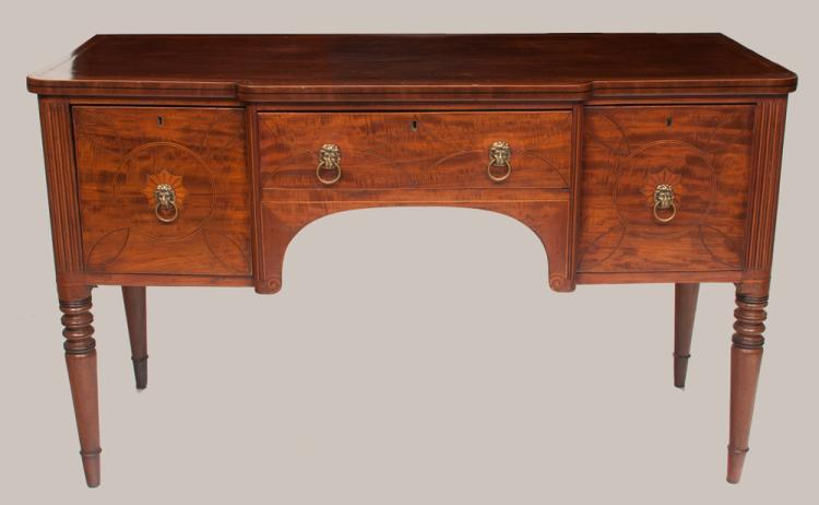 Inlaid Sheraton mahogany sideboard with cross-banded and inlaid top, fluted corners and on turned legs, c.1830