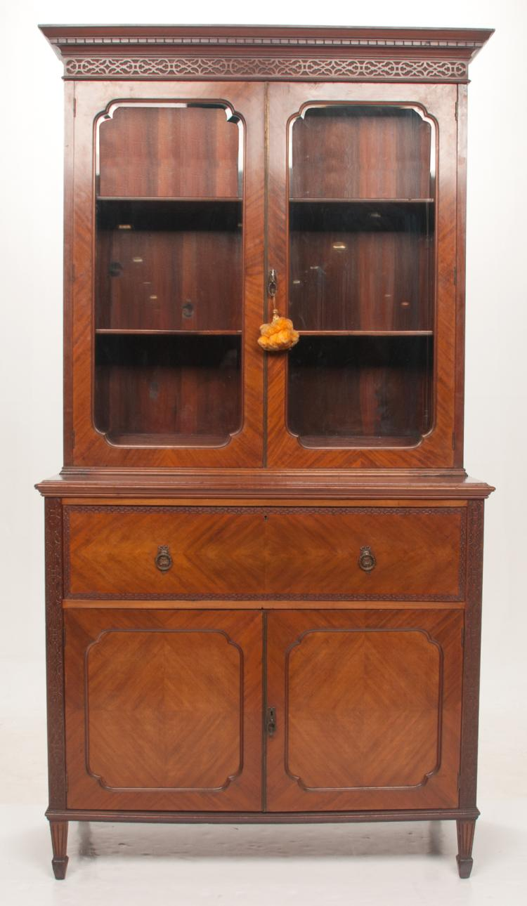 Sheraton mahogany secretaire bookcase with dentil work and blind fret carved cornice, good fitted interior and on square tapered legs with spade feet, c.1860, 48