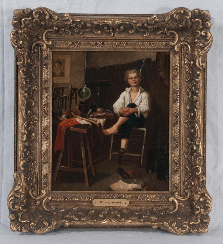 19th century oil painting on canvas, interior scene with young boy sitting on a stool and smoking a cigar, signed F. Vernon, canvas size 10
