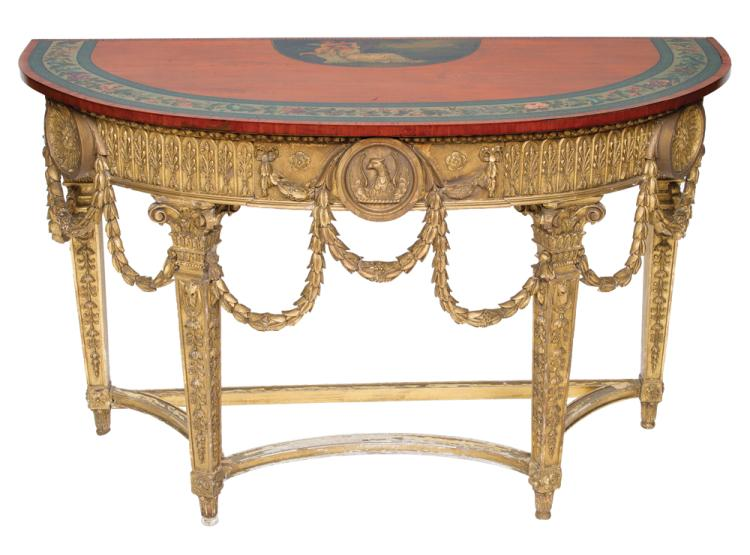 Decorated and gold leaf Louis XVI demilune console table, top has a painted panel with a reclining lady resting against a cherub and a decorated floral banding, base has a carved eagle in the center and draped bell flower apron, c.1860, 60