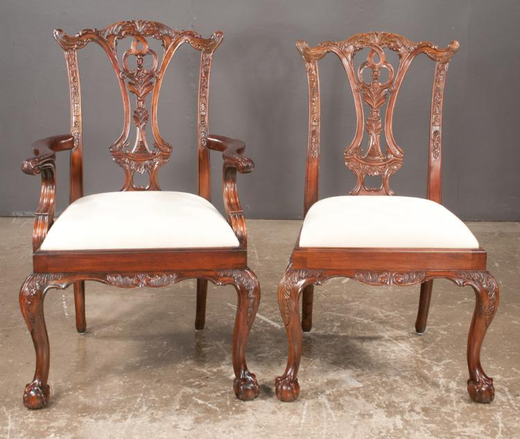 Set of ten Chippendale style mahogany dining chairs with pierced backs, carved aprons and on cabriole legs with ball and claw feet, armchairs-25