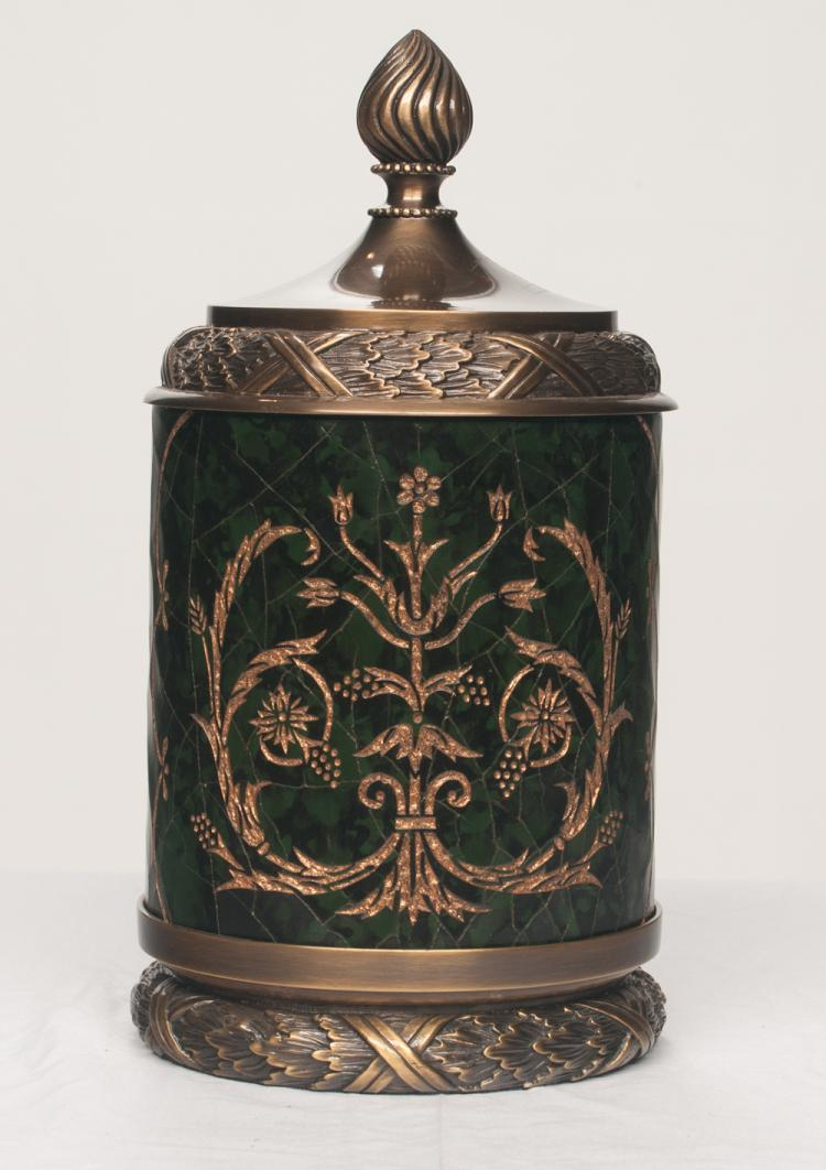 Circular decorated and gold gilt humidor with brass dome lid and brass base, 7
