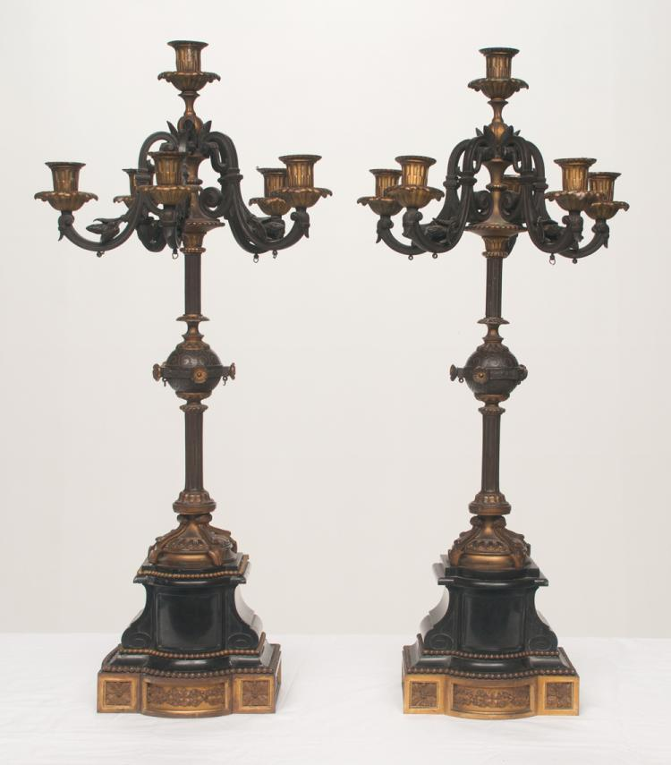 Pair of Louis XVI bronze six branch candelabra on marble bronze mounted bases, 12