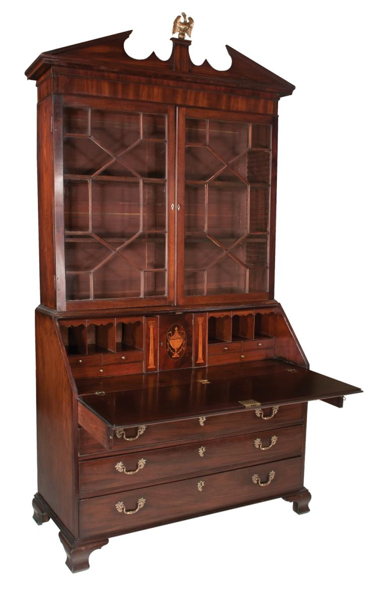 Chippendale mahogany bureau bookcase with broken pediment cornice, mullion glass doors, finely fitted interior with satinwood inlaid columns and urn, four graduated drawers and on ogee bracket feet, c.1780, 47