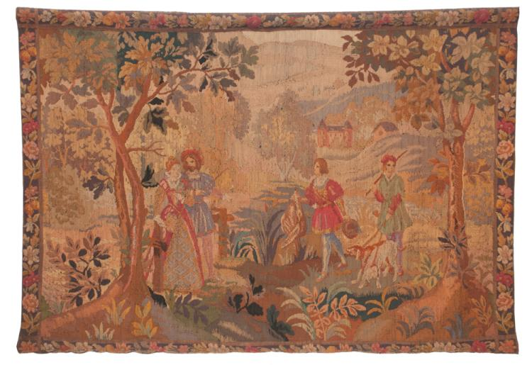 Hanging tapestry with hunting scene with two men with dogs and game and a royal man and lady standing under a tree with a castle in the background, 45