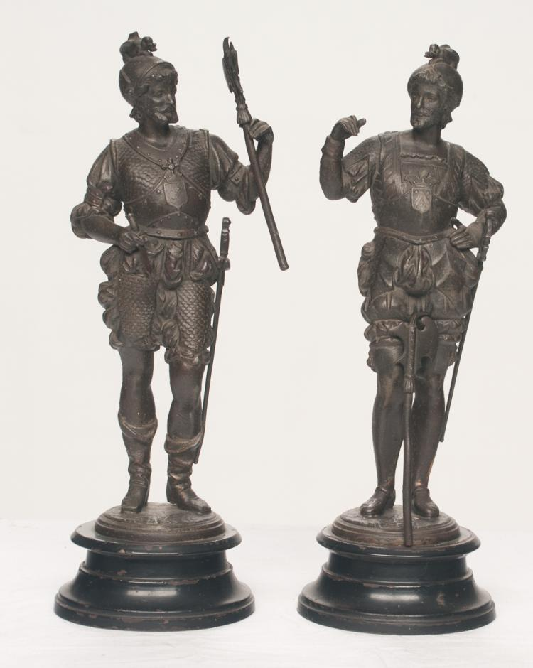 Pair of French spelter figures of warriors mounted on metal bases, 16