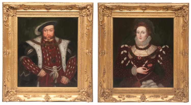 Pair of 19th century oil paintings on canvas of Henry VIII and Henry VIII's daughter Elizabeth in original gold gilt frames, canvas size 30