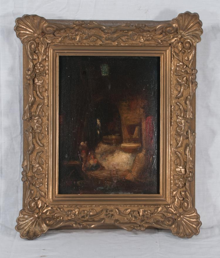 19th century oil painting on panel interior scene with fireplace and table, panel size 9.5