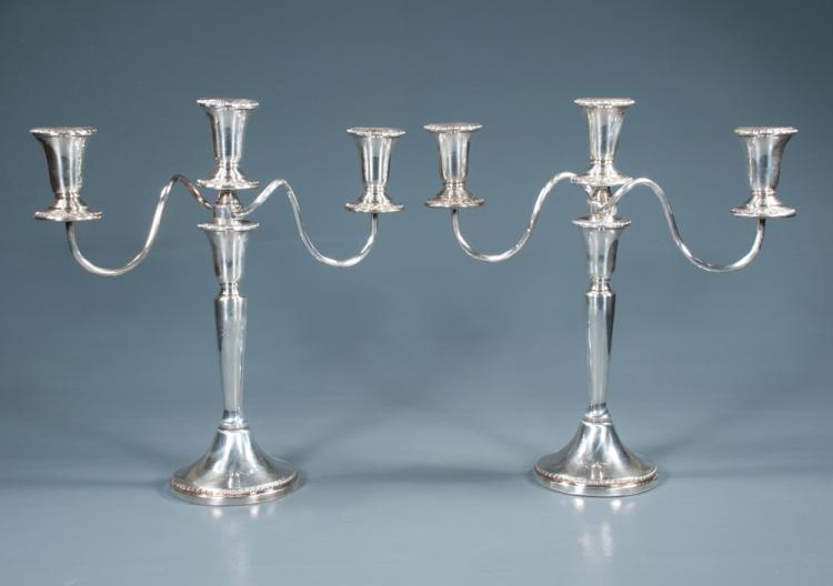 Pair of silver plated three branch candelabra by Sheffield Silver Co., 13