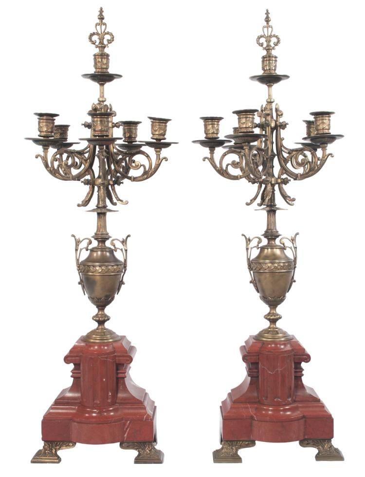 Pair of Louis XV five branch bronze and marble candelabra on shaped bronze feet with leaf design, c.1890, 31