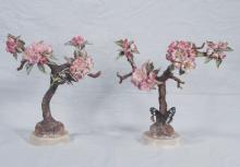 Pair of Royal Worcester porcelain flower groups with butterflies, marked