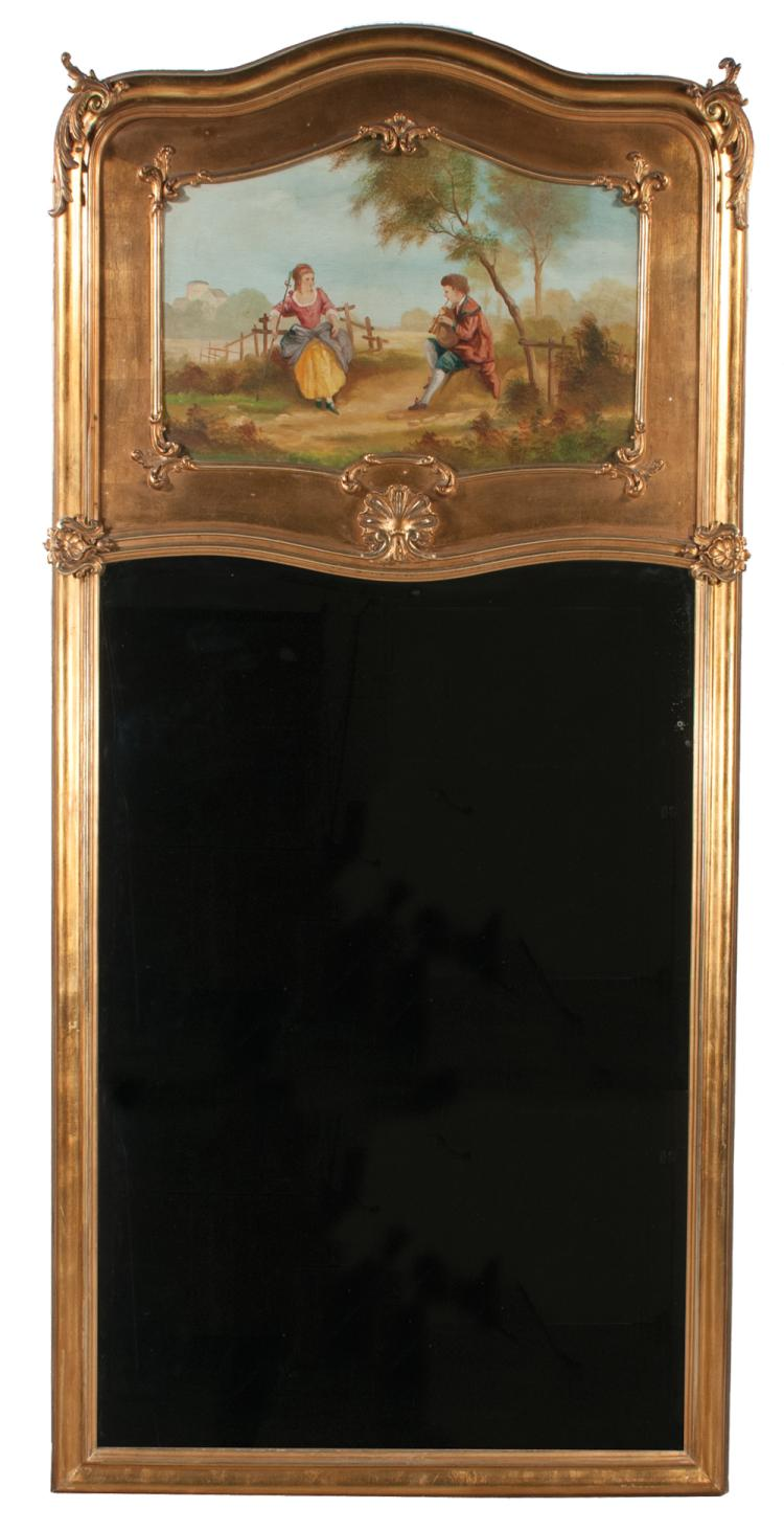 Louis XV gold gilt Trumeau mirror with arched top, carved corners, shell carving to top of mirror and painting with young man playing bagpipe for lady, in garden setting, c.1890 80