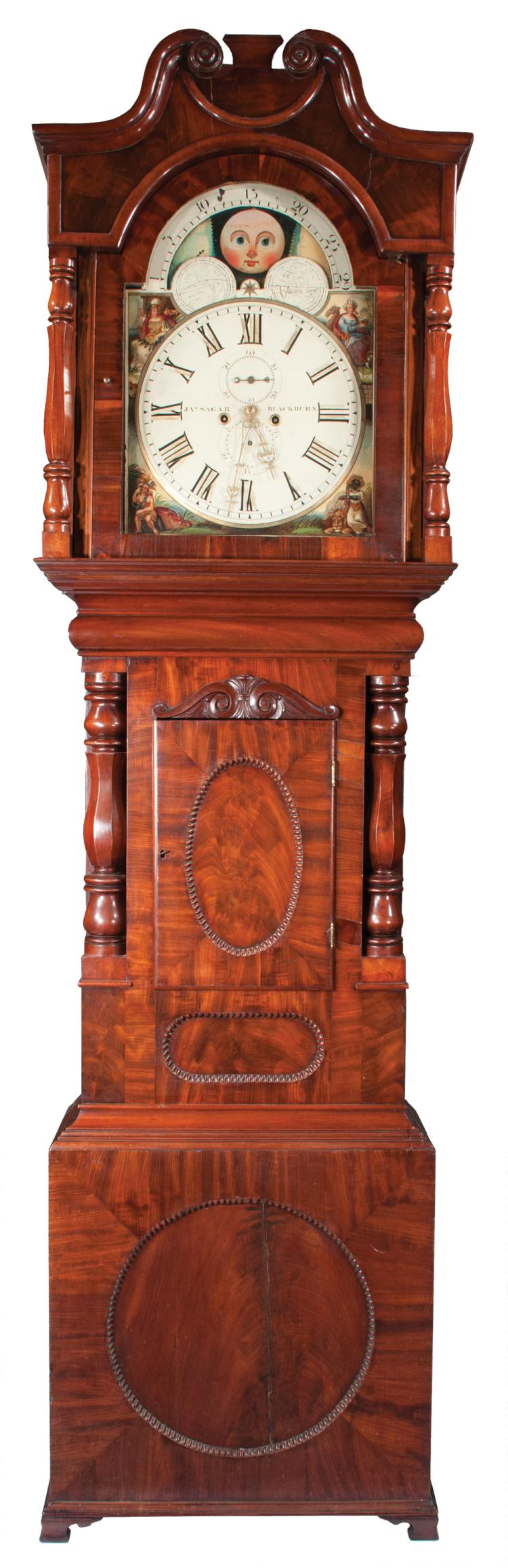 Georgian mahogany grandfather clock with broken arch pediment and moon phase movement, signed Jos. Segar, Blackburn, c.1860, 25
