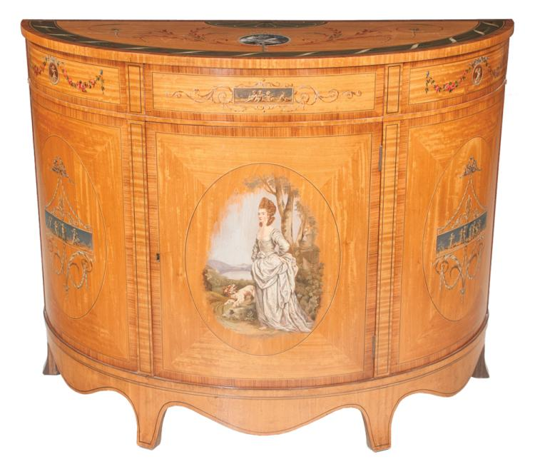 Adams style demilune satinwood commode with inlaid top, center door has an oval panel with landscape scene, and having shaped apron on splay feet, 25