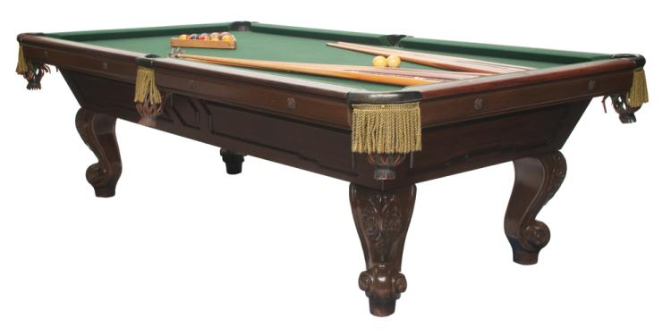 Fine slate top standard size pool table on cabriole legs with carved knees and scroll carved feet, 102