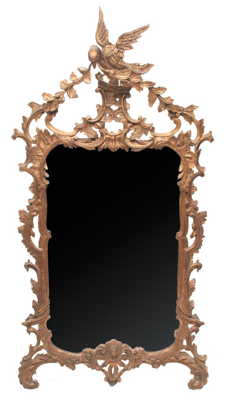 Chippendale style carved and gold gilt mirror with carved eagle pediment with leaf, floral and scroll design, c. 1880, 64