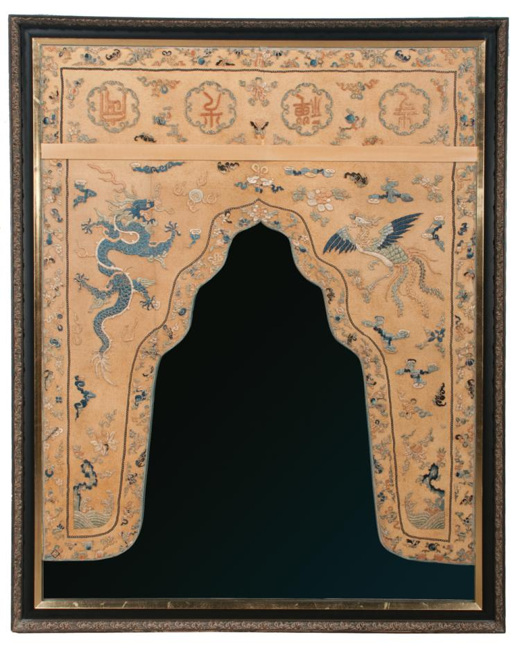 Chinese lacquered mirror with inset needlework panel with dragon, Phoenix bird and floral design, 55