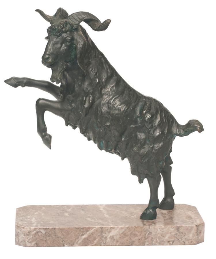 Bronze sculpture of a ram rearing up on hind legs and mounted on a marble base, 11