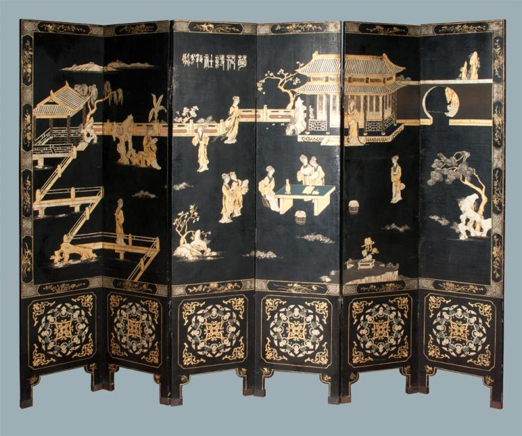 Black lacquered Chinese six panel screen with scenic, figural and floral decoration, each panel is 72