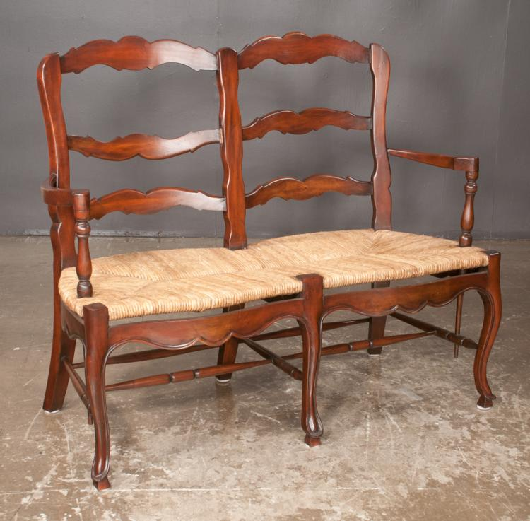 Country French style double chair back settee with shaped crest back, rush seats, scalloped apron and cabriole legs with stretcher, 48