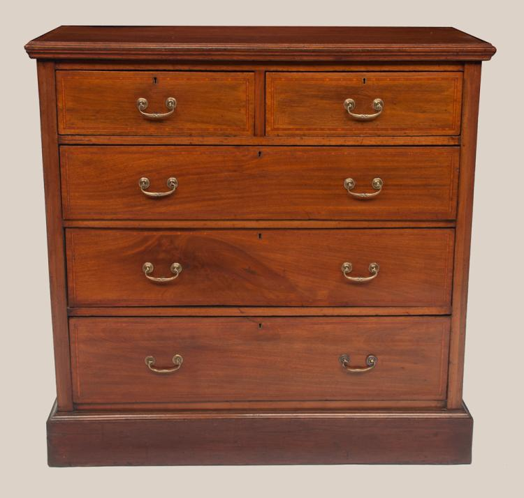 Sheraton mahogany chest with kingwood inlaid top and drawer fronts, two small drawers over three full graduated drawers and on a moulded base, c.1900