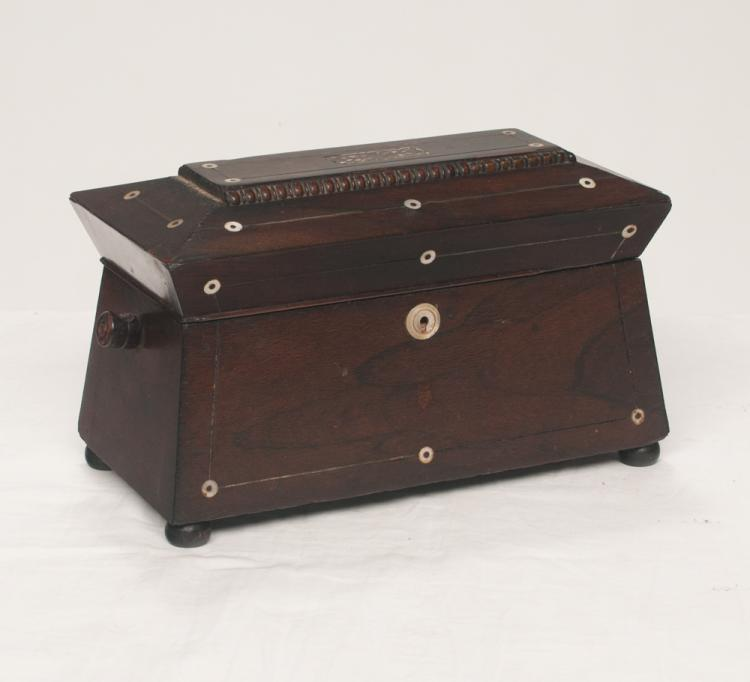 Large Sheraton rosewood inlaid tea caddy with fitted interior and coffered lid, 13