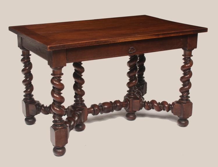 French walnut writing table on barley twist legs with stretchers, c.1900