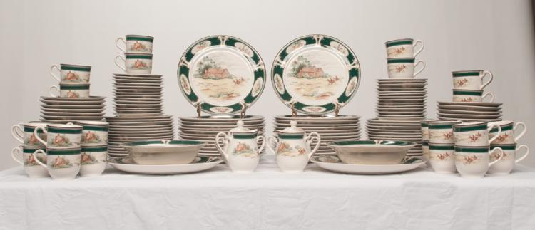 Set of 146 pieces of Keltcraft china designed by Noritake decorated with fox hunting scenes