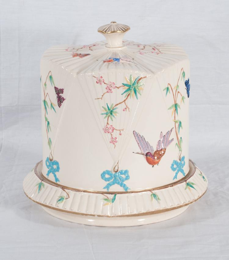 Large English round dome top cheese dish with bird, butterfly and floral decoration, c.1900, 10.5