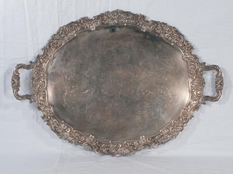 Large English silver plated serving tray with deep scroll and floral design, 31