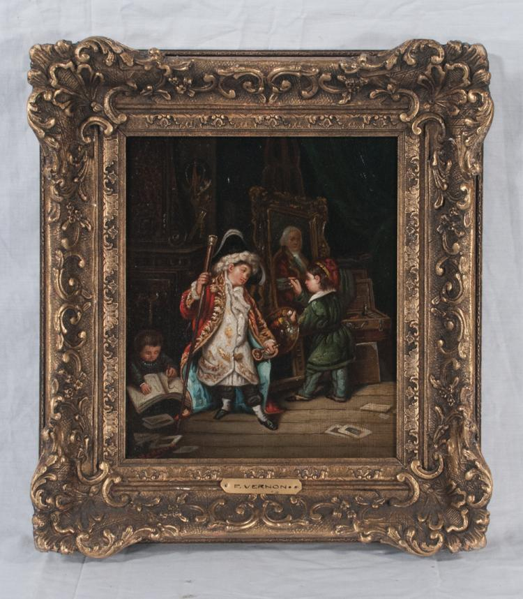 19th century oil painting on canvas, interior scene with a young artist and a young man in a long red coat, signed F. Vernon, canvas size 10