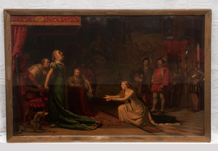 Oil painting on canvas, court scene with young lady bowing before the Queen, canvas size 27.5