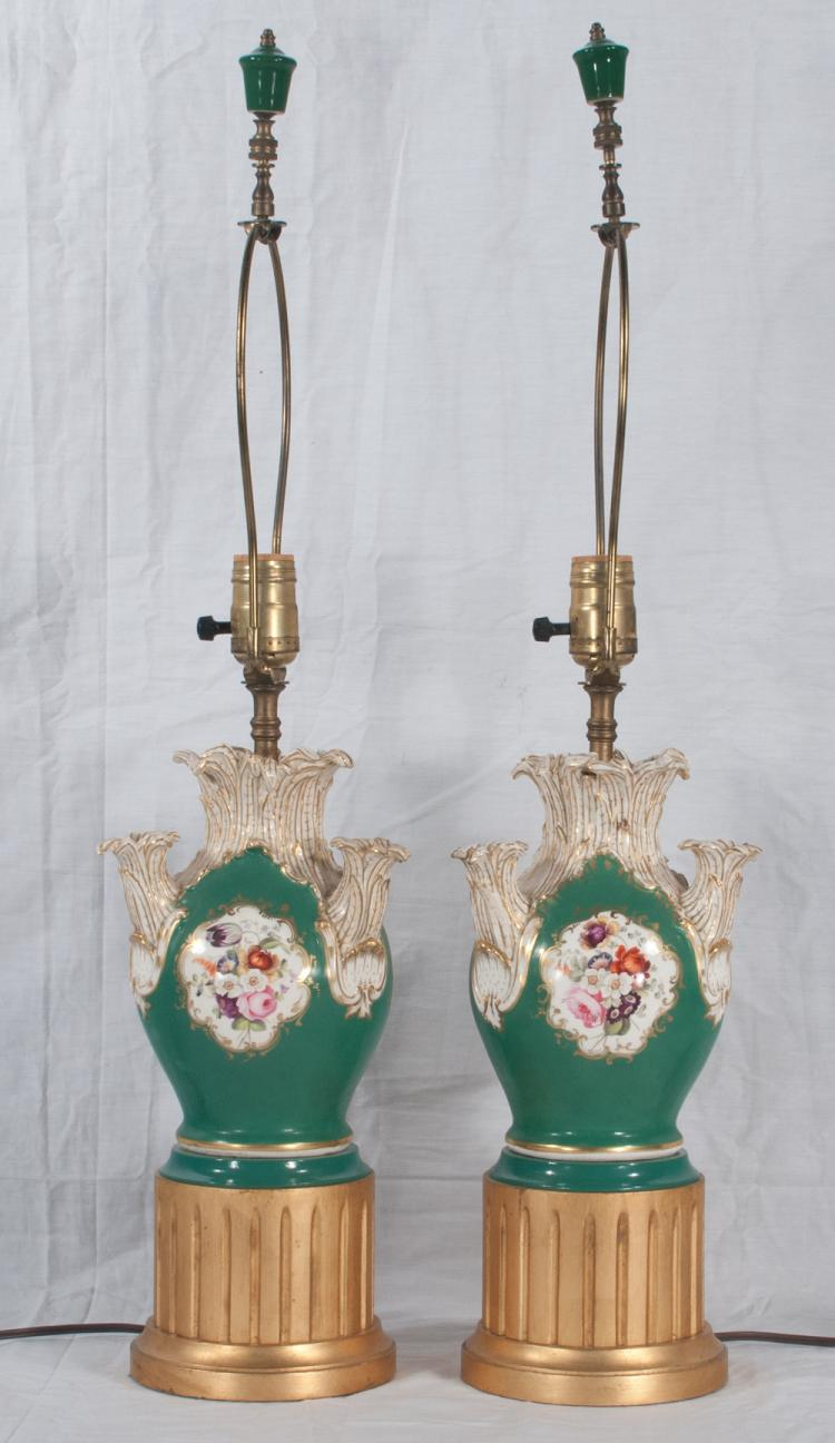 Pair of English porcelain crocus vases with green, gold and floral decoration adapted as lamps, 23