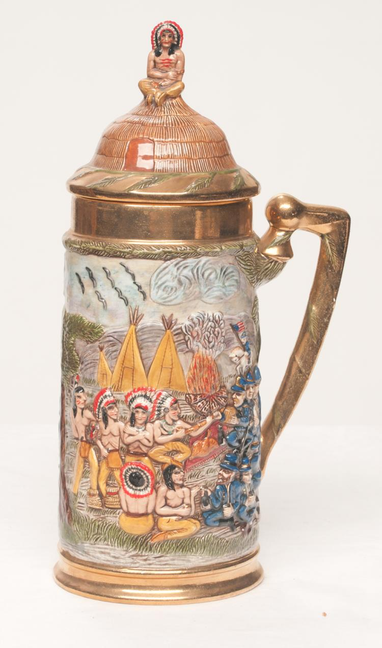 Glazed dome top beer stein with American Indian and U.S. soldiers in relief with a seated Indian chief on top of lid, 15