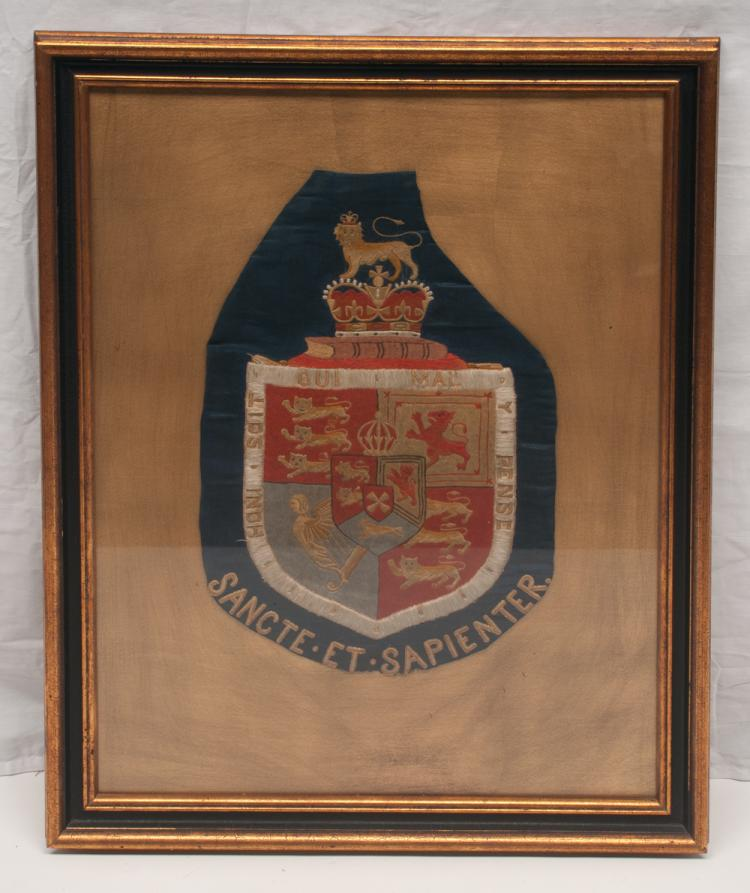 Framed needlework coat of arms of King's College, London, 31