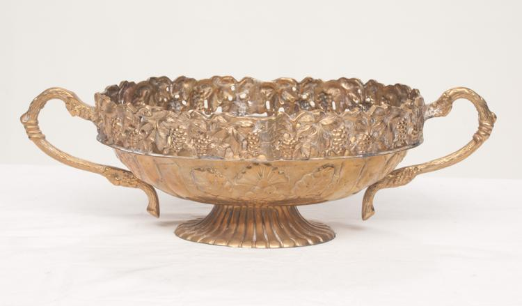 Oval brass planter with leaf and grape decoration in relief and pierced leaf and grape decoration in the top border, 17