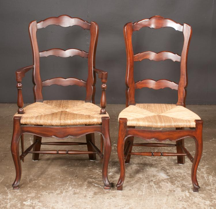Set of six Country French style ladder back dining chairs with rush seats on cabriole legs with shaped apron with stretchers, armchairs-22