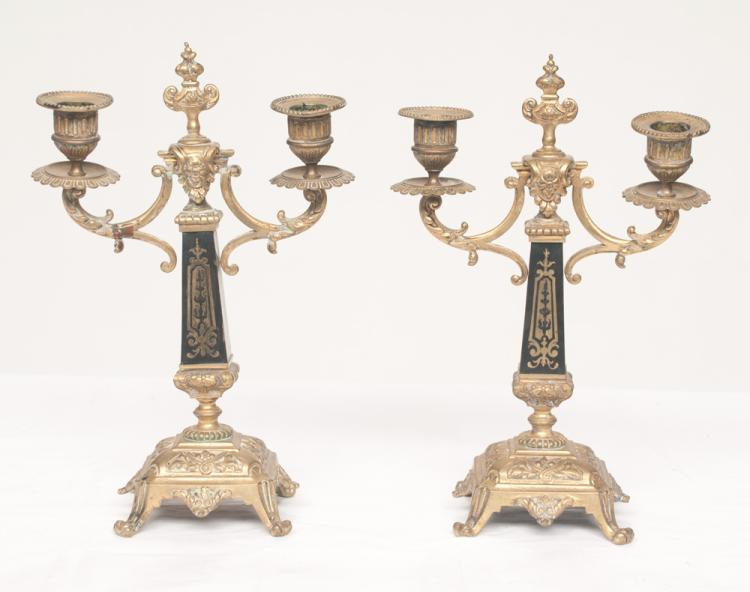 Pair of Louis XVI two branch gilt metal candelabra with square tapered marble columns with brass inlay, 7.5