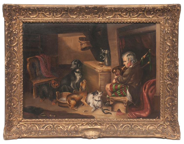 19th century oil painting on board of an interior scene with a Scotsman seated playing bagpipes with a group of four dogs surrounding him, titled A Mixed Audience, signed R. Ansdell, board size 16