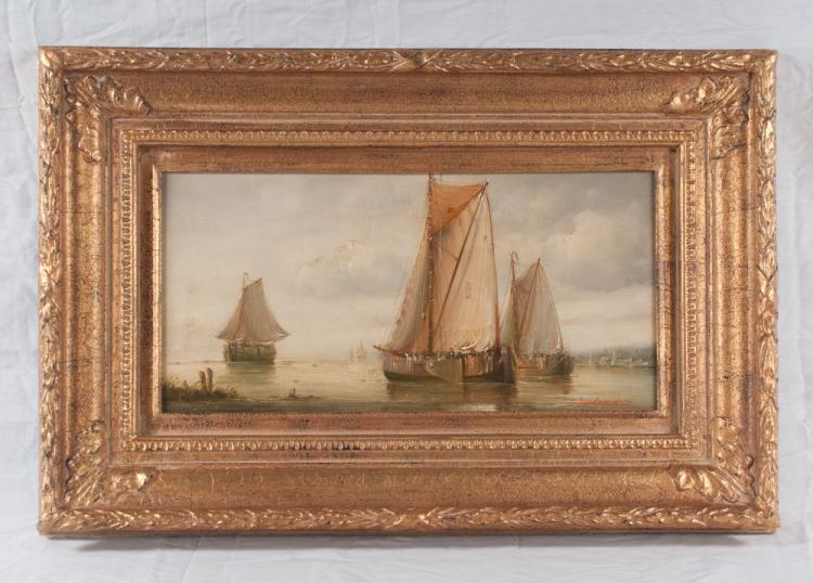 Oil painting on canvas, harbour scene with three sailing ships, signed Laurent, canvas size 8