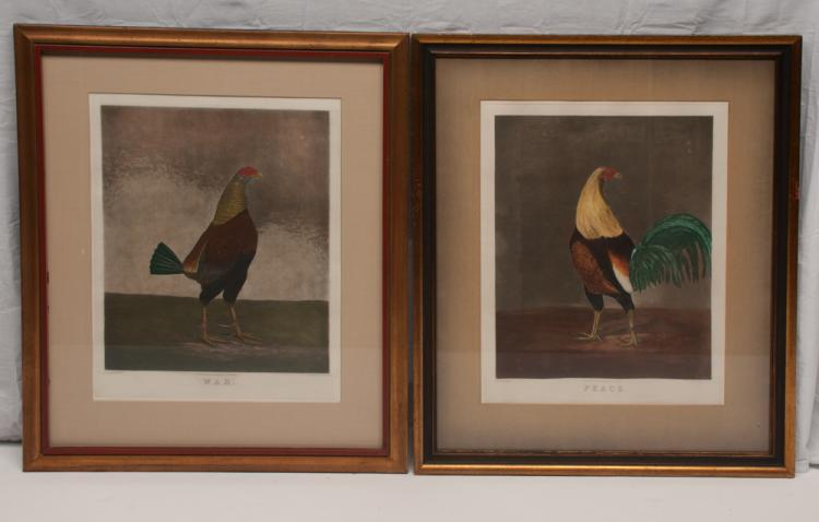 Pair of hand painted prints of fighting cocks titled War and Peace, Engraved by C. Turner/ Painted by R. Marshall/ London Published by W. C. Lee, 30.5