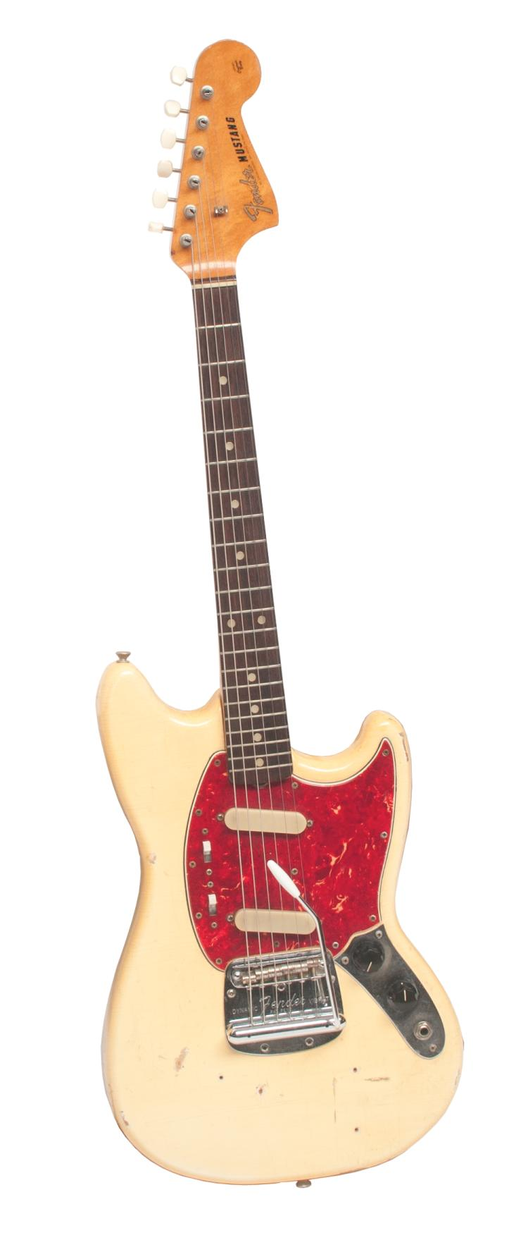 1966 Fender Mustang Olympic White guitar, Live Performance guitar owned and played by Tom T. Hall, serial #139926 with original strings