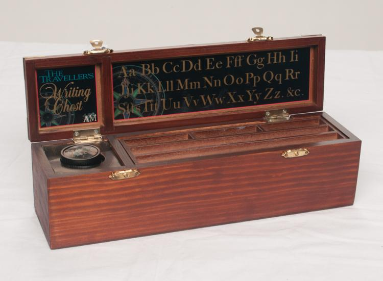 Brass bound mahogany fitted writing box presented to Tom T. Hall by the Grand Ole Opry, 11.5