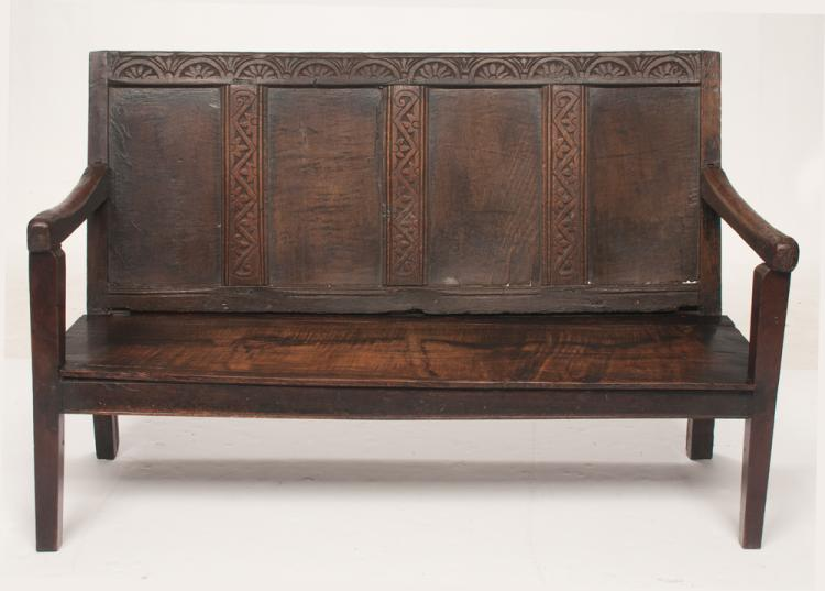Scottish oak bench with four section panel back with carved border, shaped arms on square tapered legs, c.1790, 54