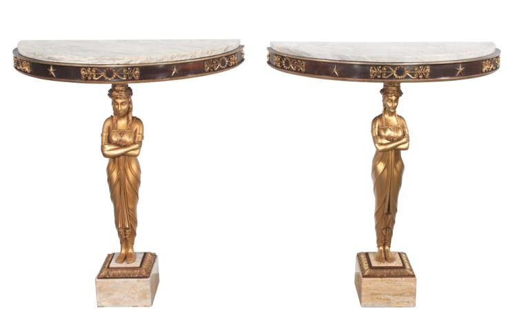 Pair of Empire style marble top demilune console tables with full carved gilt figures supporting the tops, gilt aprons and on square marble bases, 30.5