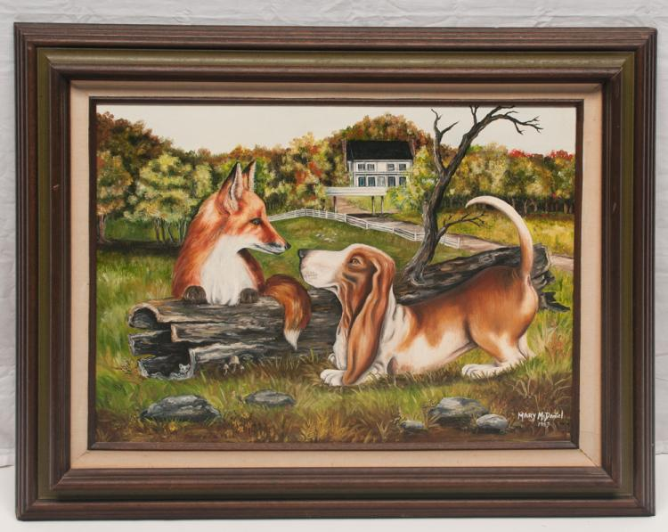 Oil painting on canvas scene from Fox Hollow Farm with Tom T's bassett hound and a fox, signed Mary McDaniel 1983, canvas size 18