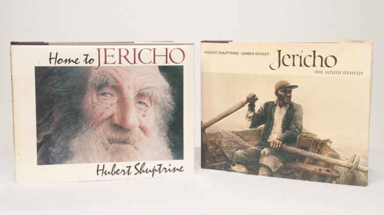 Two coffee table books, Jericho and Home to Jericho by Hubert Shuptrine, illustrating water colors and paintings by the artist, 16.5